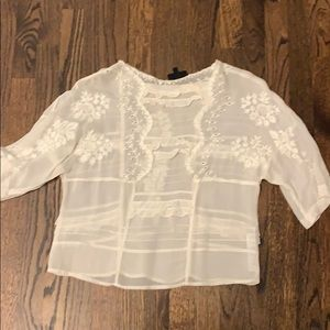 Topshop off white shirt blouse 4
